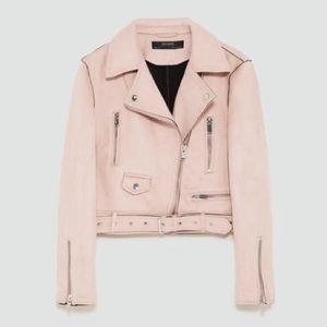 ZARA blush pink suede moto biker jacket